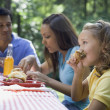 Stock Photo: Hispanic family eating at picnic table