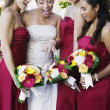 Multi-ethnic bride and bride's maids — Stock Photo