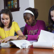 Teenage girls doing homework — Stock Photo
