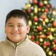 Hispanic boy smiling near Christmas tree — Stock Photo