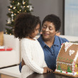 Stock Photo: Grandmother and granddaughter looking at gingerbread house