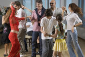 Multi-ethnic friends dancing at party — Stock Photo