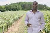 Afrikansk man med vinglas i vingården — Stockfoto