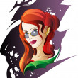 Stock Vector: Halloween Red-Haired Witch