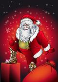 Santa claus gift — Stock Vector