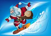 在滑雪板上圣诞老人 — 图库矢量图片