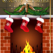Royalty-Free Stock Vector Image: Card with fireplace and christmas boots