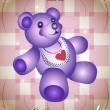 Royalty-Free Stock Vector Image: Greeting card with blue teddy bear