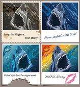 Postcard from sharky — Stock Vector