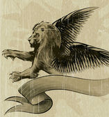The Wiged lion — Vector de stock