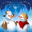 Snowman on date — Vector de stock