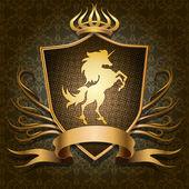 The unicorn shield — Stock Vector