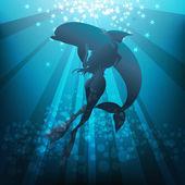 Girl and dolphin — Vector de stock