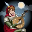 Stockvektor : Minstrel with lute