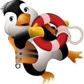 Penguin lifeguard — Stock Vector