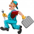 Stock Vector: Hurrying plumber