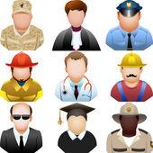 Ludzie w jednolite ikony zestaw — Wektor stockowy