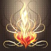 Burning heart — Stock Vector