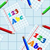 Seamless school writing-book pattern — Stock Vector