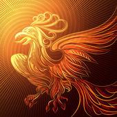феникс в пламени — Cтоковый вектор