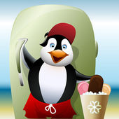 Penguin   sells ice creams — Stock Vector