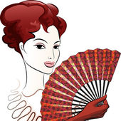 Beautiful woman with a fan — Stock Vector