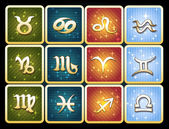 Colorful icon set of zodiac signs — Stock Vector