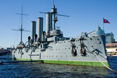 "The symbol of the communist uprising in Russia - the Cruiser ""Aurora"". St. Petersburg. Russia. — Stock Photo"