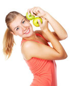 Young beautiful woman with an apples — Stock Photo
