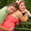 Man hugging his pregnant wife — Stock Photo