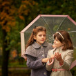 Two girls  in autumn park — Stock Photo