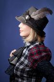 Woman wearing grey felt hat — Stock Photo