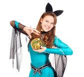 Teen girl wearing halloween bat costume — Stock Photo