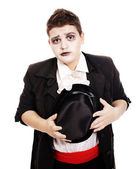 Fat teenager dressed as a vampire for Halloween — Stock Photo