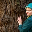 Woman wearing retro felt hat and wool coat . Outdoor — Stock Photo