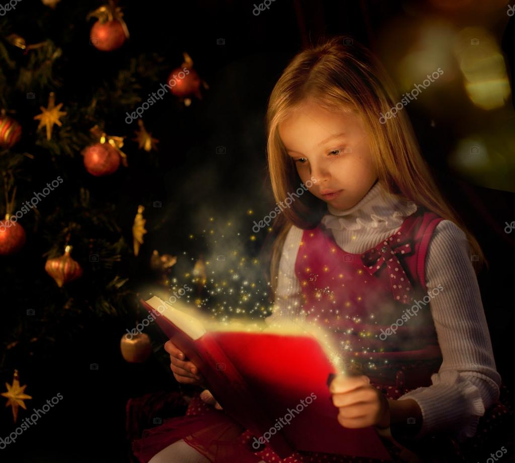 Little Girl Christmas Tree: Little Girl Reading Magic Book Near Christmas Tree