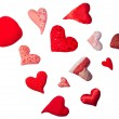 Handmade hearts- decorating sequins, spangles, bugled. Valentine — Stock Photo