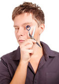Stylist holding scissors — Stock Photo