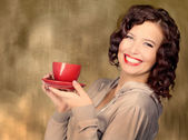 Woman hold cup — Stock Photo