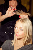 Hairdresser cutting hair — Stock Photo