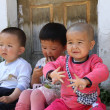 Three Kazakh children, look different — Stock Photo