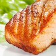 Stock Photo: Grilled salmon on white plate