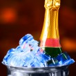 Champagne bottle in a bucket with an ice — Stock Photo
