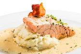 Roast ham, salmon and potato mash — Stock Photo