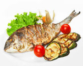 Grilled fish with vegetables — Stock fotografie
