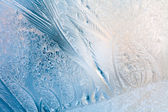 Frosty natural pattern on winter window — Stock Photo