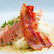Stock Photo: Roast ham, salmon and potato mash