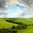 Beautiful spring landscape and cloudy sky — Stock Photo