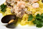 Rice with seafoods and sauce — Stock Photo