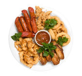 Grilled sausage with sauce and chicken — Stock Photo